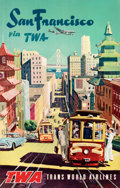 "Movie Posters:Miscellaneous, San Francisco Via TWA (Trans World Airlines, 1950s). Very Fine- on Linen. Full-Bleed Travel Poster (25.5"" X 40"").. ..."