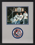 Explorers:Space Exploration, Apollo 15: Crew-Signed Color Photo Matted and Framed with an Embroidered Mission Insignia Patch. ...