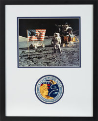 Harrison Schmitt Signed Lunar Surface Flag Color Photo Matted and Framed with an Embroidered Mission Insignia Patch