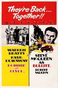 """Bullitt/Bonnie and Clyde Combo (Warner Bros.-Seven Arts, R-1969). Rolled, Very Fine-. British Double Crown (20"""" X 3..."""
