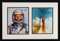 Explorers:Space Exploration, John Glenn Signed Silver Spacesuit Color Photo Matted and Framed with a Launch Color Photo Signed by Scott Carpenter....