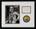 Explorers:Space Exploration, Alan Shepard Signed Silver Spacesuit Photo Matted and Framed with a Period McDonnell Cocktail Party Invitation and Embroidered...