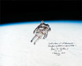 Explorers:Space Exploration, Bruce McCandless Signed Large STS-41-B Untethered EVA Color Photo....