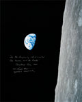 """Explorers:Space Exploration, Frank Borman Signed Large Apollo 8 """"Earthrise"""" Color Photo with Added Biblical Quote from the Christmas Eve Broadcast. ..."""