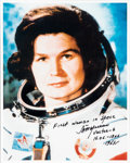 Explorers:Space Exploration, Valentina Tereshkova Signed Spacesuit Color Photo. ...