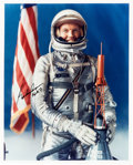 Explorers:Space Exploration, Gordon Cooper Signed Silver Spacesuit Color Photo. ...