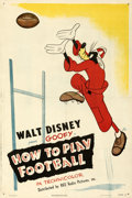"Movie Posters:Animation, How to Play Football (RKO, 1944). Fine/Very Fine on Linen. One Sheet (27"" X 40.5"").. ..."