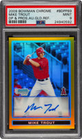 Baseball Cards:Singles (1970-Now), 2009 Bowman Chrome Draft Mike Trout Gold Refractor Autograph 7/50 #BDPP89 PSA Mint 9. ...