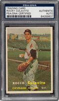 Autographs:Sports Cards, Signed 1957 Topps Rocky Colavito #212 PSA/DNA Authentic....