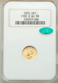 Gold Dollars, 1855 G$1 Type 2 AU58 NGC. CAC. NGC Census: (2048/1499). PCGS Population: (548/1370). AU58. Mintage 758,269. . From The ...