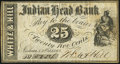Obsoletes By State:New Hampshire, Nashua, NH- White & Hill at Indian Head Bank 25¢ Oct. 1, 1862 Fine-Very Fine.. ...