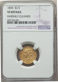 1835 $2 1/2 -- Harshly Cleaned -- NGC Details. VF. NGC Census: (1/326). PCGS Population: (1/232). VF20. Mintage 131,402...