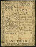 Continental Currency February 17, 1776 $1/3 Fine
