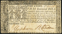 Maryland March 1, 1770 $8 Very Fine