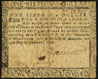 Maryland August 14, 1776 $1/6 Very Fine-Extremely Fine