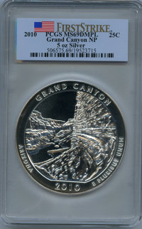 2010 25C Grand Canyon Five Ounce Silver, First Strike MS69 Deep Mirror Prooflike PCGS. PCGS Population: (970/0). NGC Cen...