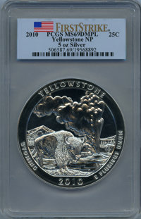 2010 25C Yellowstone Five Ounce Silver, First Strike MS69 Deep Mirror Prooflike PCGS. PCGS Population: (1647/0). NGC Cen...