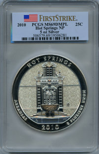 2010 25C Hot Springs Five Ounce Silver, First Strike MS69 Deep Mirror Prooflike PCGS. PCGS Population: (2372/0). NGC Cen...
