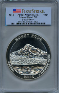 2010 25C Mount Hood Five Ounce Silver, First Strike MS69 Deep Mirror Prooflike PCGS. PCGS Population: (2538/0). NGC Cens...