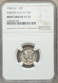 1942/1 10C Mercury Dime -- Curved Clip @ 7:00 -- VF35 NGC. NGC Census: (0/0). PCGS Population: (392/1563). CDN: $390 Whs...
