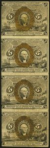 Fractional Currency:Second Issue, Fr. 1233 5¢ Second Issue Vertical Strip of Four Extremely Fine-About New.. ...