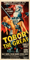 """Movie Posters:Science Fiction, Tobor the Great (Republic, 1954). Folded, Fine+. Three Sheet (41"""" X 80"""").. ..."""