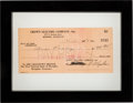 Music Memorabilia:Documents, Elvis Presley Cashed/Signed Paycheck Issued To Him From Crown Electric Company (1954)....