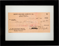 Elvis Presley Cashed/Signed Paycheck Issued To Him From Crown Electric Company (1954)