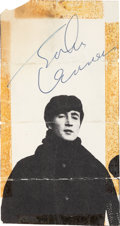 Music Memorabilia:Autographs and Signed Items, John Lennon Signed Cut-Out Picture. ...