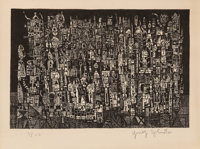 Ynez Johnston (b. 1920) Untitled, c. 1949 Relief print on paper 8-1/2 x 13 inches (21.6 x 33 cm)