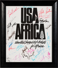 """USA For Africa """"We Are the World"""" Poster Signed by Michael Jackson, Bruce Springsteen, Billy Joel, Diana Ross..."""