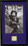 Music Memorabilia:Autographs and Signed Items, Jerry Garcia Signed Paper With Photo. ...