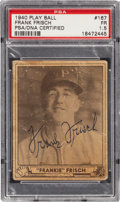 Autographs:Sports Cards, Signed 1940 Play Ball Frankie Frisch #167 PSA/DNA FR 1.5.