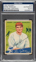Autographs:Sports Cards, Signed 1934 Goudey Heinie Manush #18 PSA/DNA Authentic....