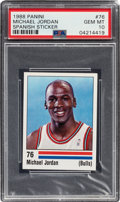 Basketball Cards:Singles (1980-Now), 1988 Panini Spanish Sticker Michael Jordan #76 PSA Gem Mint 10....