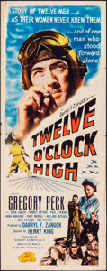 "Movie Posters:War, Twelve O'Clock High (20th Century Fox, R-1955). Folded, Fine+. Insert (14"" X 36""). War.. ..."