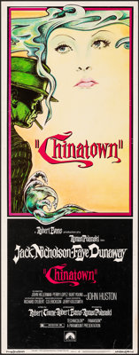 "Chinatown (Paramount, 1974). Rolled, Very Fine-. Insert (14"" X 36""). Jim Pearsall Artwork. Mystery"
