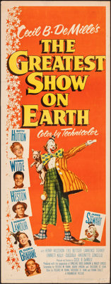 "The Greatest Show on Earth (Paramount, 1952). Rolled, Fine/Very Fine. Insert (14"" X 36""). Drama"