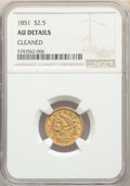 Liberty Quarter Eagles, 1851 $2 1/2 -- Cleaned -- NGC Details. AU. NGC Census: (21/843). PCGS Population: (36/491). CDN: $260 Whsle. Bid for proble...