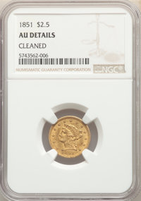 1851 $2 1/2 -- Cleaned -- NGC Details. AU. NGC Census: (21/843). PCGS Population: (36/491). CDN: $260 Whsle. Bid for pro...