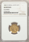 Liberty Quarter Eagles, 1843-O $2 1/2 Small Date, Crosslet 4, -- Cleaned -- NGC Details. AU. NGC Census: (70/526). PCGS Population: (52/164). CDN: ...