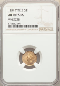 1854 G$1 Type Two -- Whizzed -- NGC Details. AU. NGC Census: (216/5490). PCGS Population: (427/3044). AU50. Mintage 783...