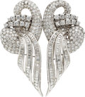 Estate Jewelry:Brooches - Pins, Diamond, Platinum Double-Clip-Brooch. ...