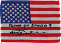 Explorers:Space Exploration, Apollo 9 Flown American Flag Directly from the Personal Collection of Mission Lunar Module Pilot Rusty Schweickart, Signed and...