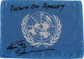 Explorers:Space Exploration, Apollo 9 Flown United Nations Flag Directly from the Personal Collection of Mission Lunar Module Pilot Rusty Schweickart, Sign...