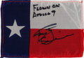 Explorers:Space Exploration, Apollo 9 Flown Texas State Flag Directly from the Personal Collection of Mission Lunar Module Pilot Rusty Schweickart, Signed ...