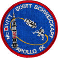 Explorers:Space Exploration, Apollo 9 Flown Embroidered Mission Insignia Patch Directly from the Personal Collection of Mission Lunar Module Pilot Rusty Sc...