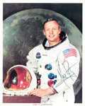 Explorers:Space Exploration, Neil Armstrong Signed, Uninscribed White Spacesuit Color Photo from the Collection of His Niece Ellen....