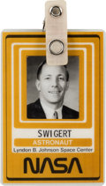 Explorers:Space Exploration, Jack Swigert's NASA/ JSC U.S. Government Photo Identification Badge Originally from his Personal Collection, with Signed L...