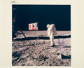 Explorers:Space Exploration, Apollo 11 Crew-Signed Vintage NASA Buzz Aldrin on Lunar Surface with American Flag Color Photo. ...
